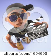 Black Hiphop Rap Artist In Baseball Cap Holding A Film Slate 3d Illustration