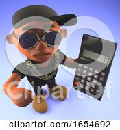 Black Hiphop Rapper Using A Digital Calculator 3d Illustration
