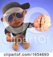 Cool Black Hip Hop Rap Artist Holding A Human Brain 3d Illustration