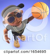 Cool Black Hiphop Rapper Shoots A Basketball At The Goal 3d Illustration