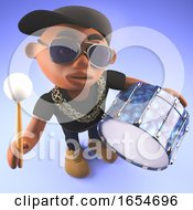 Cartoon Black Hiphop Rapper Playing The Drum 3d Illustration