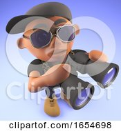 Cool Black Hiphop Rapper Birdwatching With Some Binoculars 3d Illustration
