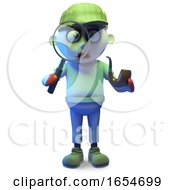 Cartoon Zombie Monster Wearing A Deerstalker And Using A Magnifying Glass 3d Illustration