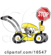 Yellow Lawn Mower Mascot Cartoon Character Holding A Stop Sign