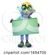 Funny Undead Zombie Monster Holding A Blank Banner 3d Illustration