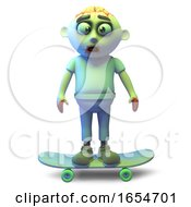 Cool Undead Zombie Monster Riding On A Skateboard 3d Illustration