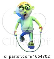 Silly Cartoon Undead Zombie Monste Skipping With A Rope 3d Illustration