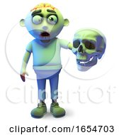 Scarey Undead Zombie Monster Holding A Human Skull 3d Illustration
