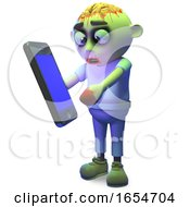 Funny Undead Zombie Monster Plays With His New Smartphone Tablet Device 3d Illustration