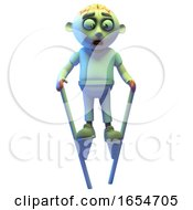 Silly Undead Zombie Monster Using Stilts To Walk Around 3d Illustration