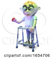 Scarey Undead Zombie Monster Is Using A Walking Frame Today 3d Illustration