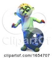 Poor Undead Zombie Monster Has Dropped A Car Wheel And Tyre On His Foot 3d Illustration