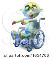 Funny Old Zombie Monster Riding In A Wheelchair 3d Illustration