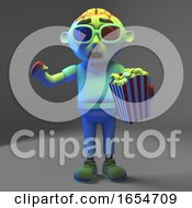 Silly Undead Zombie Is Scared At The Movie With His 3d Glasses And Popcorn 3d Illustration