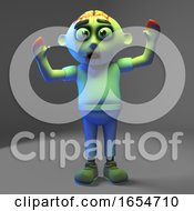 Cartoon Undead Zombie Monster Scares Himself Silly 3d Illustration