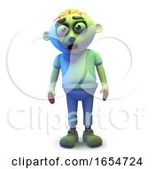 Funny Cartoon Undead Zombie Monster Stands Forlornly 3d Illustration