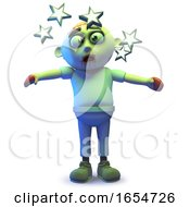 Cartoon Undead Zombie Monster Is So Dizzy He Sees Stars 3d Illustration