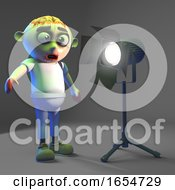 Silly Undead Zombie Monster Is Dazzled By The Spotlight 3d Illustration