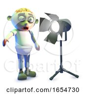 Funny Cartoon Undead Zombie Monster With Studio Light 3d Illustration