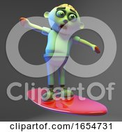 Undead Zombie Monster Looks Cool On His Surfboard 3d Illustration