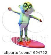Even Undead Zombie Monsters Can Enjoy Surfing On A Surfboard 3d Illustration