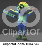 Zombie Monster Is Surprised At How Painful An Injection With A Syringe Is 3d Illustration