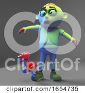 Poor Undead Zombie Monster Has A Small Tack Stuck In His Foot 3d Illustration