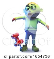 Funny Zombie Monster Has A Giant Tack In His Undead Foot 3d Illustration