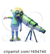 Cartoon Zombie Monster Looking Down The Wrong End Of A Telescope 3d Illustration