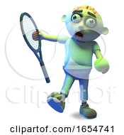 Athletic Zombie Monster Is About To Serve In A Game Of Tennis 3d Illustration