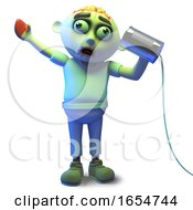 Hello Is It Me You Are Looking For Asks Zombie Monster On The Tin Can Phone 3d Illustration