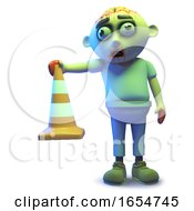 Zombie Monster Is The One Who Puts All The Traffic Cones Out In The Night 3d Illustration