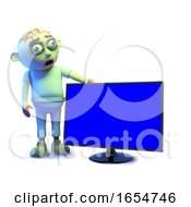Funny Zombie Monster Likes The Look Of His New Flatscreen Hd Tv Monitor 3d Illustration