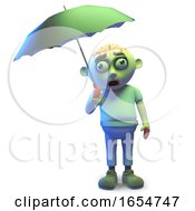 It Never Rains It Pours On Poor Zombie Monster With Umbrella 3d Illustration