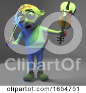 Stupid Undead Zombie Monster Pokes Himself In The Eye With Violin Bow 3d Illustration