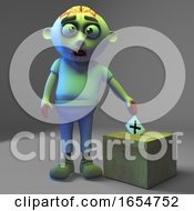 Poster, Art Print Of Democratically Minded Zombie Monster Votes In The Election 3d Illustration