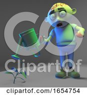 Funny Zombie Monster Is Watering His Undead Plants Unsuccessfully 3d Illustration