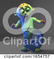 Silly Zombie Monster Has A Wheel On His Foot 3d Illustration