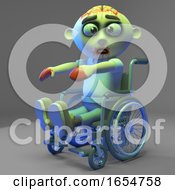 Poor Undead Zombie Monster Is Very Slow In His Wheelchair 3d Illustration