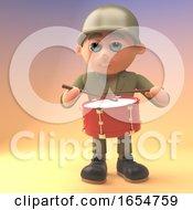 Cartoon Army Solder Is Drumming 3d Illustration