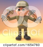 Poster, Art Print Of Brave Army Soldier Is Weight Training With Some Weights 3d Illustration