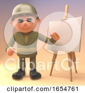 Brave Army Soldier Standing In Front Of A Blank Easel 3d Illustration