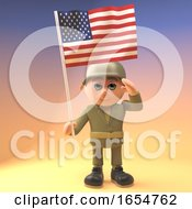 Poster, Art Print Of Brave Army Soldier Salutes While Holding The American Flag 3d Illustration
