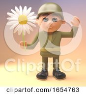 Heroic Army Soldier Holding A Flower 3d Illustration