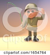 Brave Army Soldier Is Relaxing By Doing Some Fishing 3d Illustration