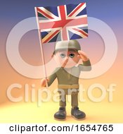 Poster, Art Print Of Heroic Army Soldier Salutes While Holding The British Flag 3d Illustration