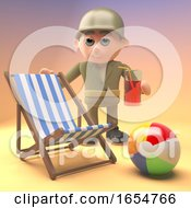 Poster, Art Print Of Army Soldier Relaxes At The Beach With A Deckchair And Drink 3d Illustration