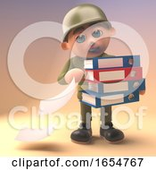 Brave Army Soldier Drops Some Files From His Folders 3d Illustration
