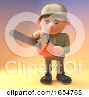 Cartoon Army Soldier Using A Chainsaw 3d Illustration