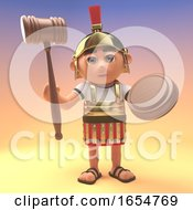 Funny Cartoon Roman Centurion Soldier Holding An Auction Gavel 3d Illustration by Steve Young